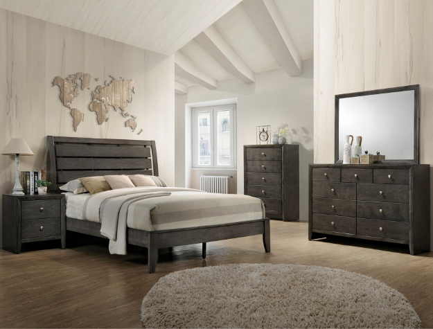 CM-B4720 5 pc Marsdell collection grey finish wood slatted headboard queen bedroom set