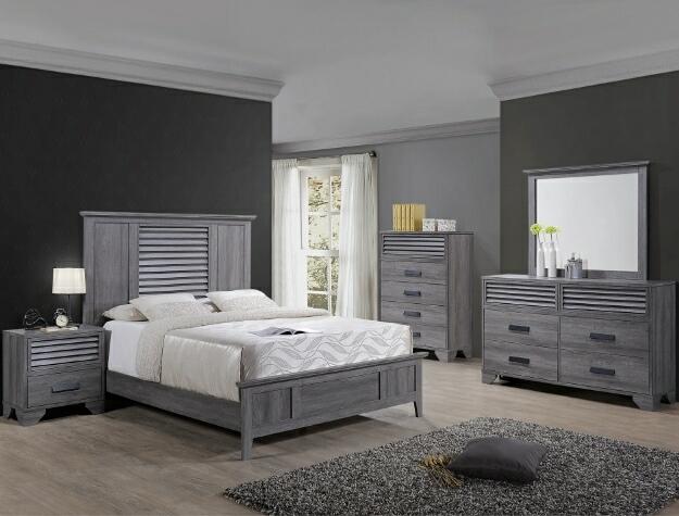 B4760 4 pc Sarter gray finish wood wood grain look queen bedroom set