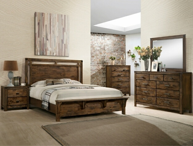 B4810 4 Pc Curtis Rustic Weathered Finish Wood Queen Bedroom Set