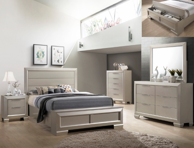 Crown Mark B4820 5 Pc Paloma Antique Silver Finish Wood Queen Bedroom Set  With Storage Bench Footboard