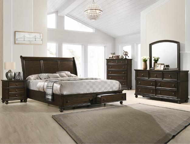 B6077 4 pc A & j designs studio lara dark wood finish wood queen bedroom set