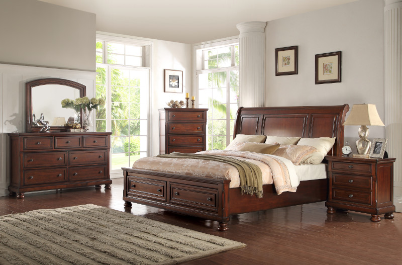 Mc Ferran B608 5 pc Darby home co elkland dark brown finish wood carved accents queen bedroom set