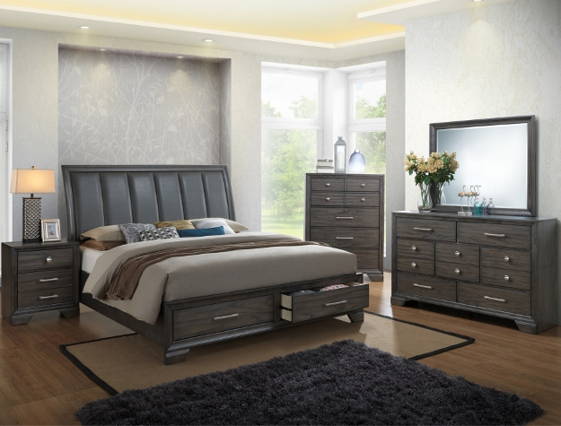 B6580 5 pc Jaymes grey finish wood bedroom set with drawers in footboard