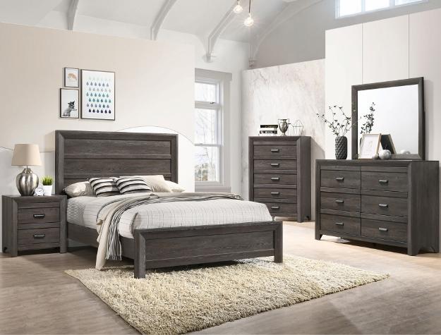 B6700 4 pc A & J Homes Studios adelaide gray panel look wood grain queen bedroom set