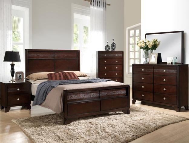 CM-B6850 5 pc Tamblin dark finish wood with wood grain look queen bedroom set