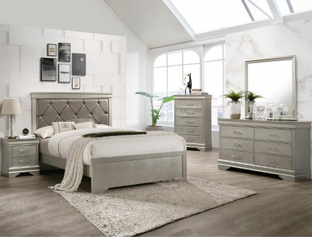 B6910 4 pc A & j designs studio amalia champagne wood finish wood queen bedroom set