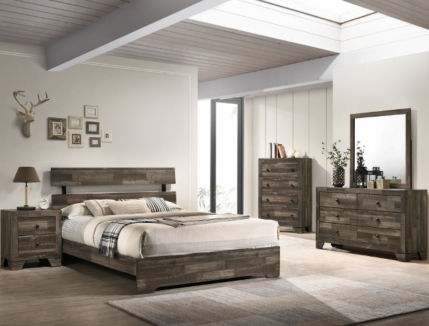 B6980 4 pc A & J homes studio atticus reclaimed grey weathered finish wood queen bedroom set