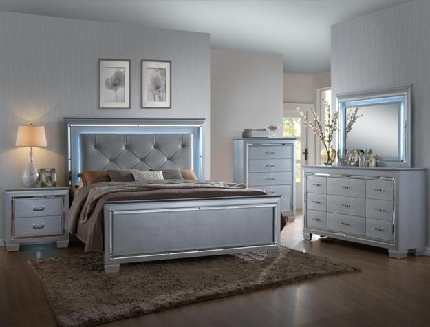 B7100 4 pc lillian metallic wood finish wood queen bedroom set with led accents