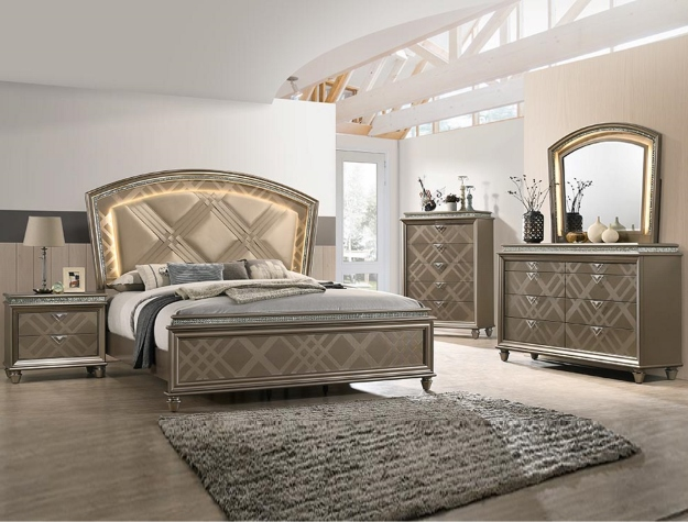 B7800 5 pc Augusta dark finish wood traditional style queen bedroom set