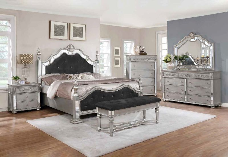5 pc Rosdorf park kenton antique silver finish wood black velvet queen bed set with mirrored accents