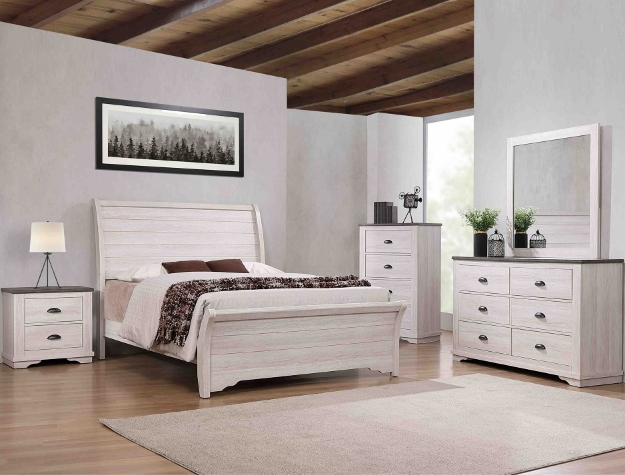 B8130 4 pc A & J homes studio paterno chalk grey weathered finish wood queen bedroom set