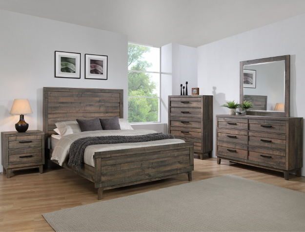 B8280 4 pc Tacoma rustic brown finish wood queen bedroom set