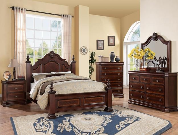 B8300 5 pc Charlotte collection dark wood finish carved design headboard with accents queen bedroom set