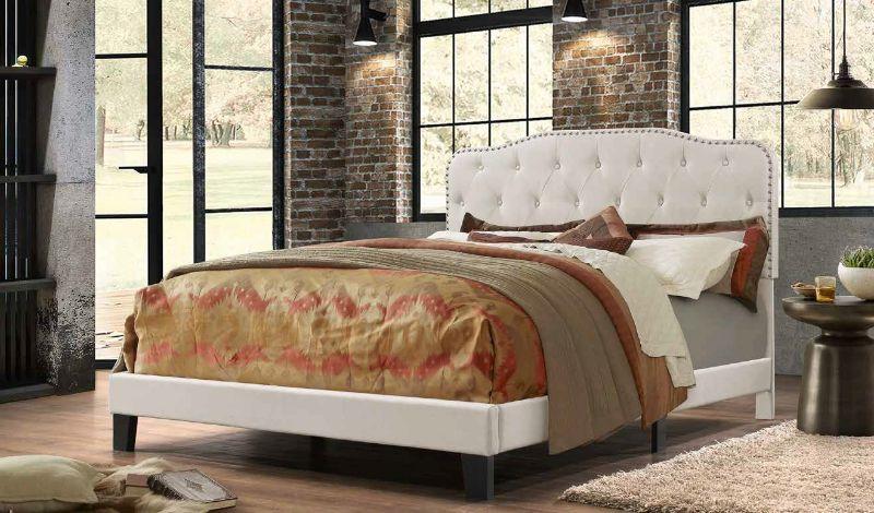 B88 Charlton home castalina beige linen fabric nail head trim tufted queen bed set