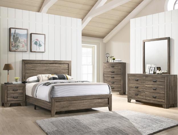 B9200 4 pc A & J Homes Studios hopkins natural gray panel look wood grain queen bedroom set