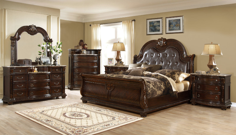 B9500 5 pc Amber collection dark wood finish with bonded leather tufted padded headboard sleigh style bedroom set with marble tops