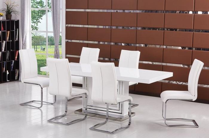Best Master Ba207 7pc 7 Pc Everett Glossy White Finish Wood Modern Dining Table Set