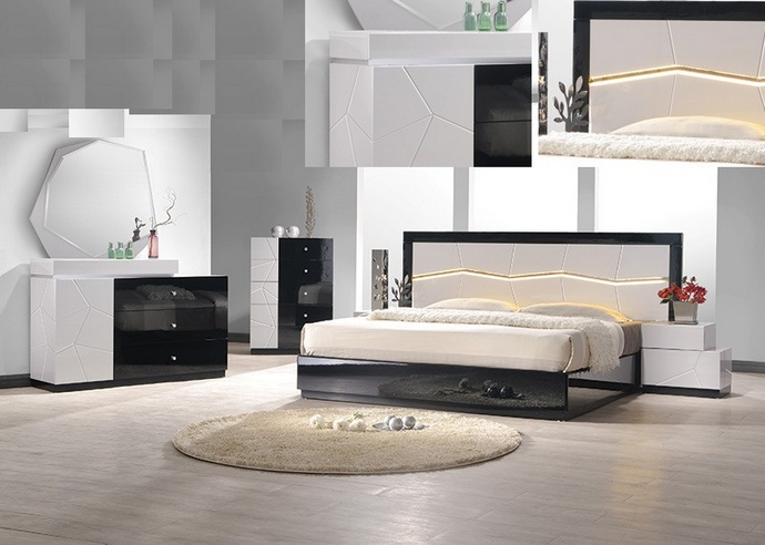 BM-BERLIN 4 pc berlin collection black and white lacquer finish wood modern style queen bed set with geometric inlay