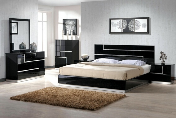 Barcelona 4 pc Black lacquer finish wood modern style Queen bed set with silver inlay