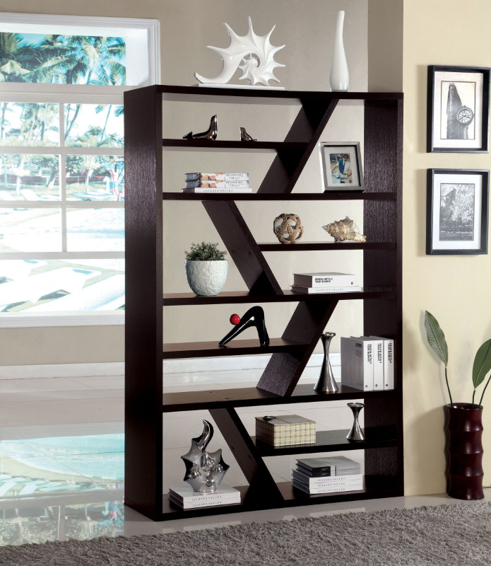Furniture of america CM-AC118 Kamloo espresso finish wood zig zag bookcase shelf unit