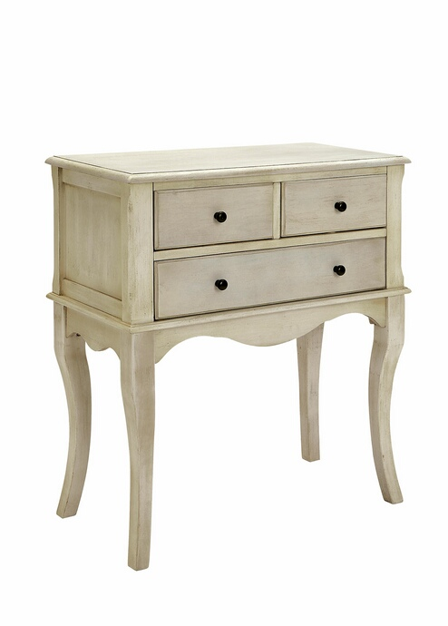 Furniture of america CM-AC137WH Sian antique white finish wood hallway storage cabinet console with cabriole legs
