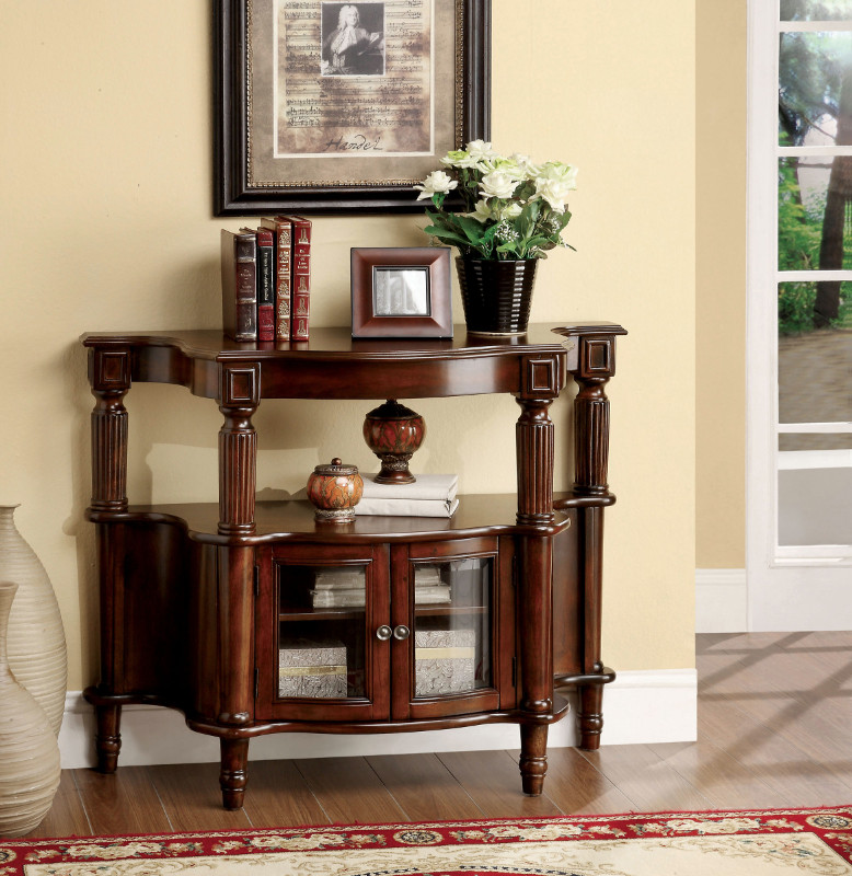 CM-AC201 Southampton classic style antique walnut finish wood console hall table with storage compartment