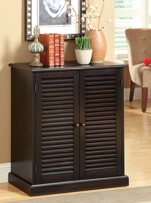 CM-AC213EX Della collection country style espresso finish wood louvered front cabinet door 5 shelf shoe cabinet