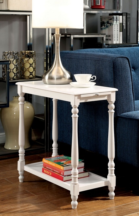 CM-AC222 Deering collection transitional style dark white finish chair side table with turned legs