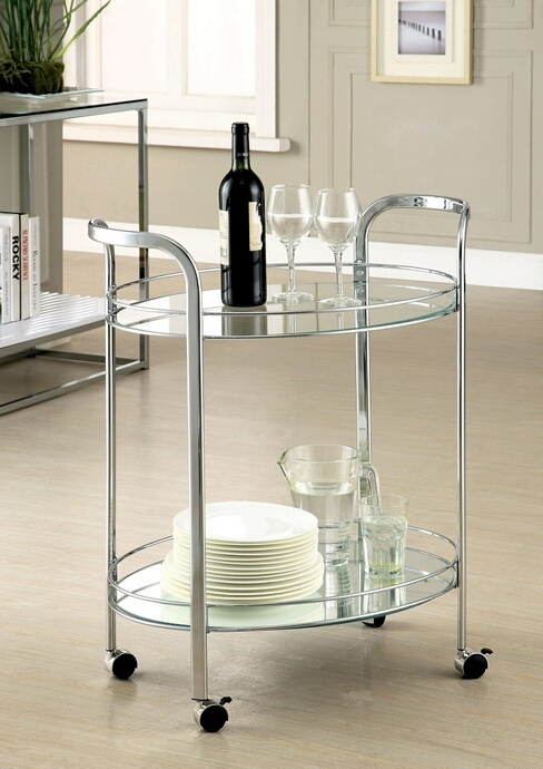 CM-AC228 Loule collection contemporary style chrome metal and glass tea serving cart with casters