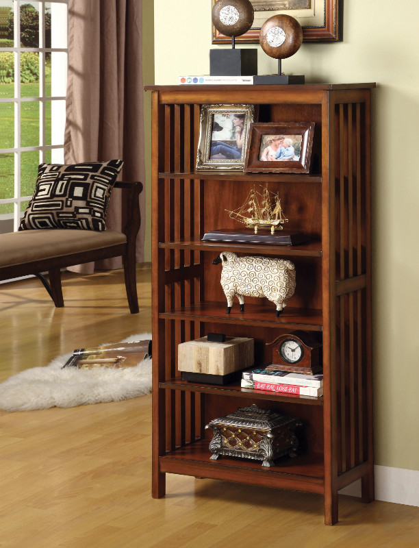 Furniture of america CM-AC249 Valencia mission style accent 5 media shelf rack