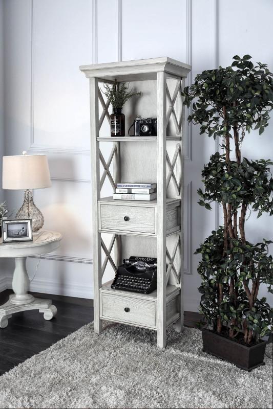 Furniture of america CM-AC278 Georgia antique white finish wood bookcase shelf unit