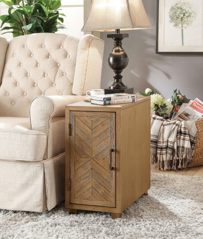 Furniture of america CM-AC290 Sage light oak finish wood chair side cabinet accent table with USB plugs