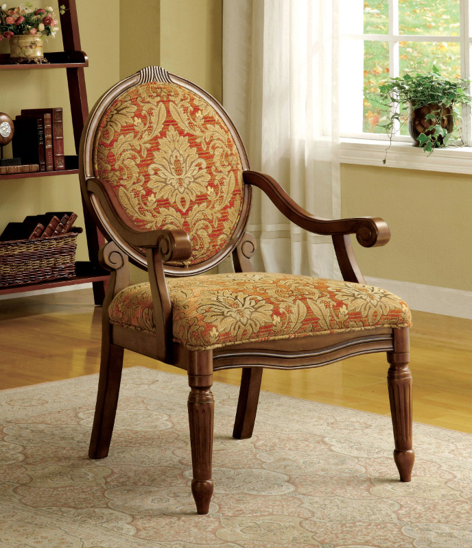 Furniture of america CM-AC6024 Hammond victorian fabric antique oak wood finish frame accent chair
