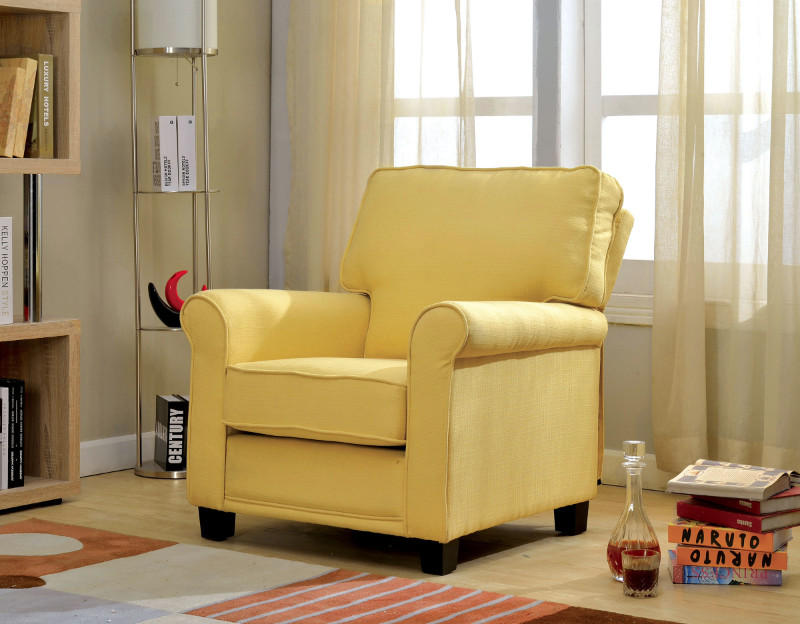 Furniture of america CM-AC6056YW Belem yellow padded flax fabric accent chair with rounded arms