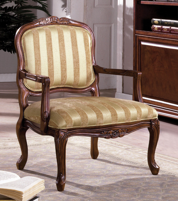 CM-AC6100 Burnaby collection transitional style antique oak finish wood padded accent chair with striped fabric upholstery