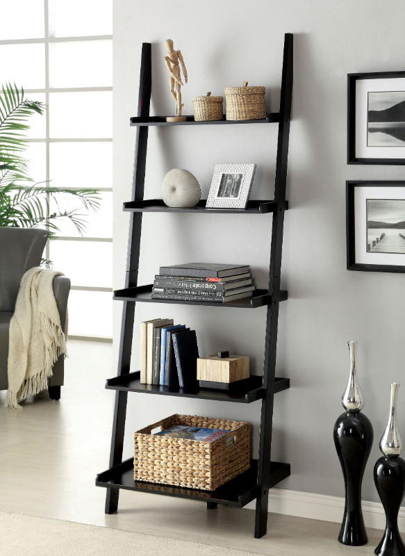 Furniture of america CM-AC6213BK Sion black finish wood 5 tier corner leaning bookcase shelf