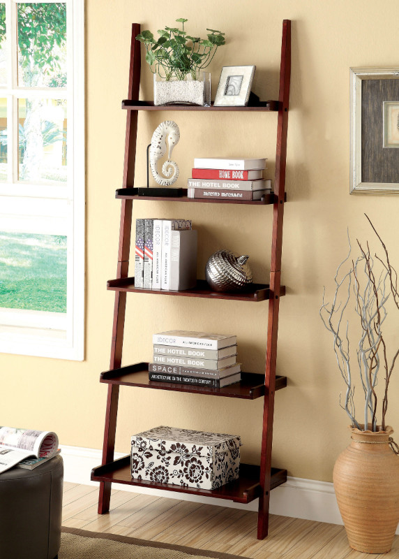 Furniture of america CM-AC6213CH Sion cherry finish wood 5 tier corner leaning bookcase shelf