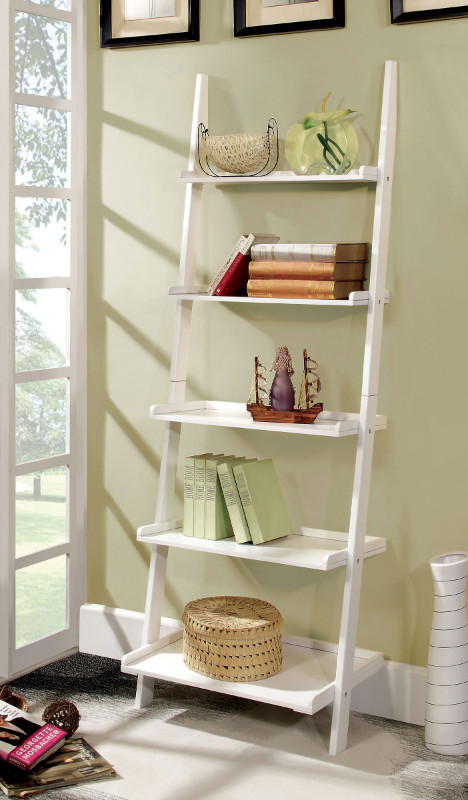 Furniture of america CM-AC6213WH Sion white finish wood 5 tier corner leaning bookcase shelf