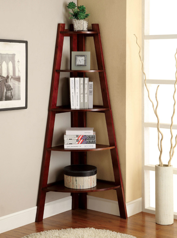 CM-AC6214CH Lyss contemporary style cherry finish wood 5 tier corner bookcase shelf
