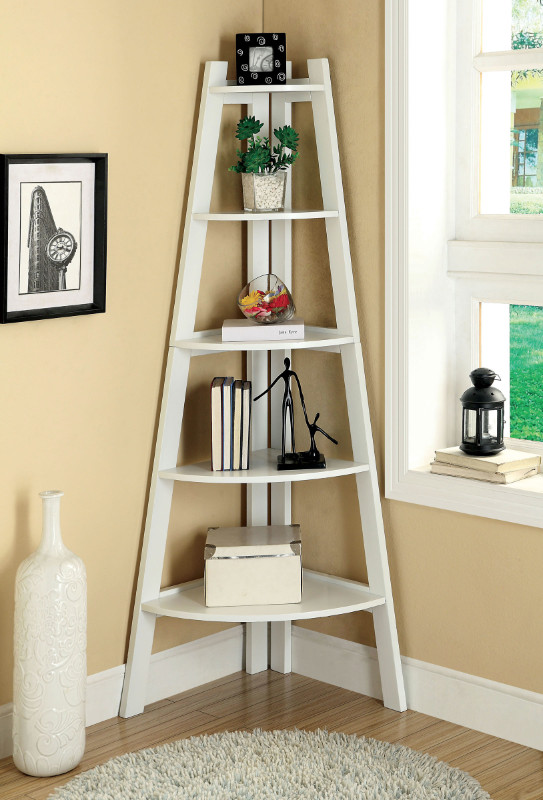 CM-AC6214WH Lyss contemporary style white finish wood 5 tier corner bookcase shelf