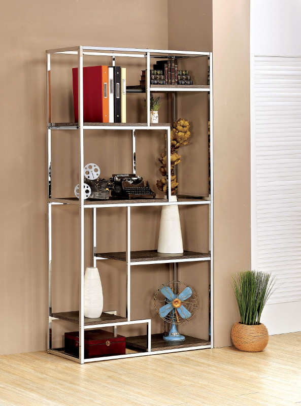 Furniture of america CM-AC6264CRM Elvira multi tier light dark finish wood shelves with chrome frame bookcase shelf