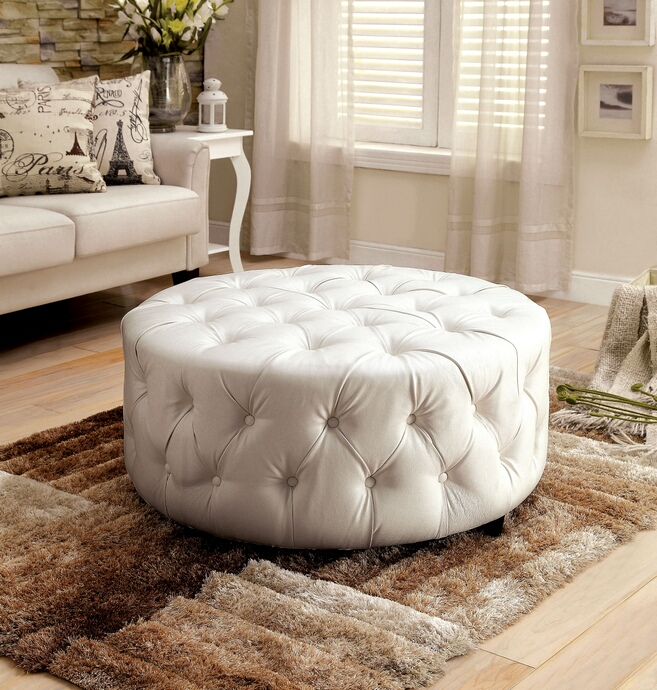 CM AC6289WH Latoya Collection White Bonded Leather Tufted Round Ottoman  Foot Stool