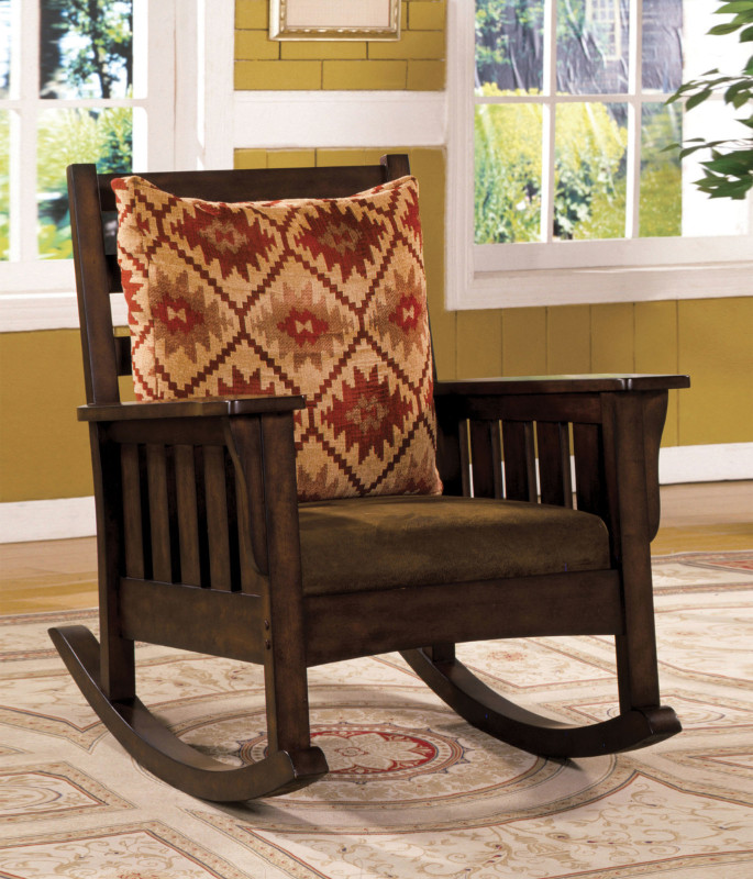 CM-AC6401 Morrisville mission style rocker with brown microfiber padded seat with dark oak wood finish