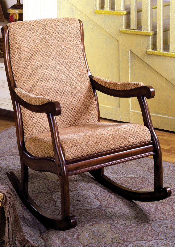 Furniture of america CM-AC6408 Liverpool classic style antique oak finish wood padded accent rocking chair