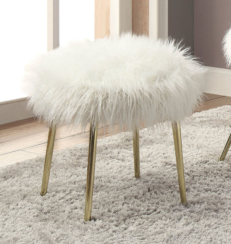 Furniture of america CM-AC6546-OT Caoimhe white fur like fabric upholstered ottoman with gold legs
