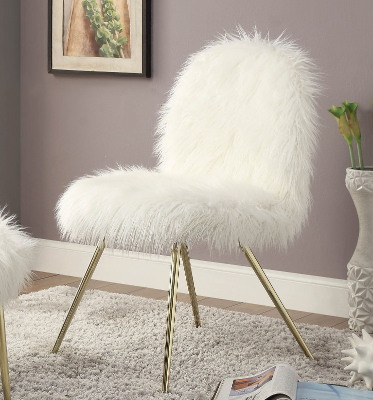 Furniture of america CM-AC6546 Caoimhe white fur like fabric upholstered side accent chair gold legs