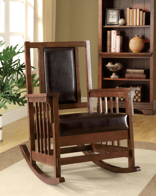 Furniture of america CM-AC6580 Apple valley padded leatherette seat in espresso wood finish mission style rocking chair