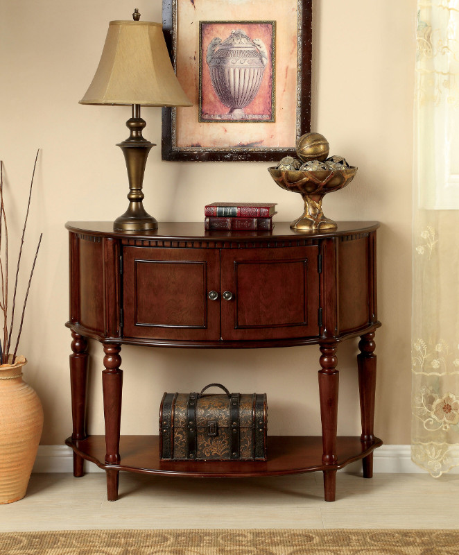 CM-AC6714 Roxbury classic style cherry finish wood console hall table with storage compartment