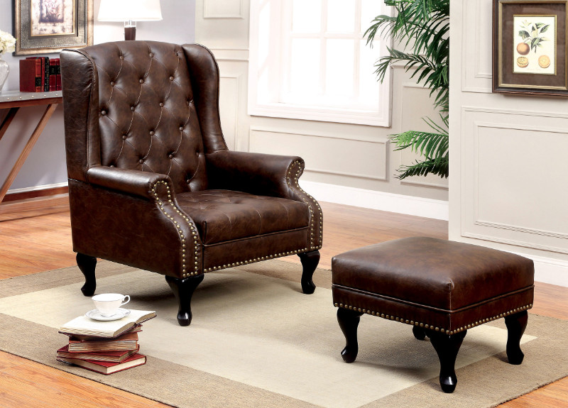 Furniture of america CM-AC6801BR-OT Vaugh rustic brown leatherette wing back arm chair and ottoman with nail head trim
