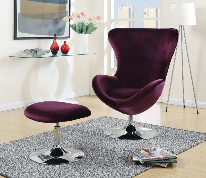 Furniture of america CM-AC6841 2 pc Shelia purple flannelette fabric rounded back accent chair and ottoman